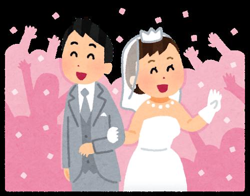 結婚式で祝福されているカップル